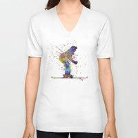skiing V-neck T-shirts featuring woman skier skiing by Paulrommer