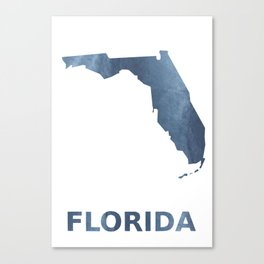 Florida map outline Dark blue clouded watercolor Canvas Print