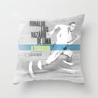 ronaldo Throw Pillows featuring LPFC: Ronaldo by James Campbell Taylor