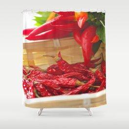 Hot chili pepper for kitchen design Shower Curtain