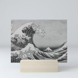 Black & White Japanese Great Wave off Kanagawa by Hokusai Mini Art Print