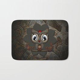 Cute little steampunk owl with floral elements Bath Mat