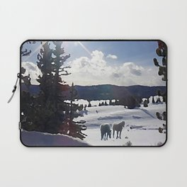 Two Horses in the Snow Laptop Sleeve