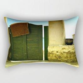 green old garden door Rectangular Pillow