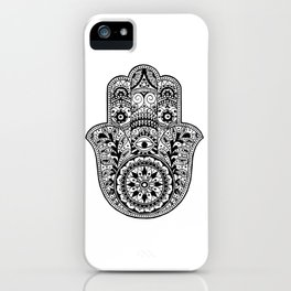Black and White Hamsa Hand iPhone Case