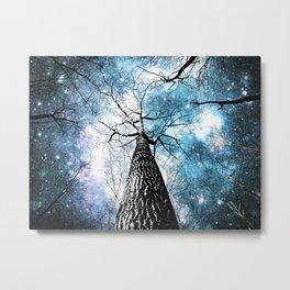 Wintry Trees Galaxy Skies Steel Teal Blue Metal Print