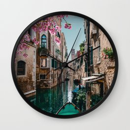 Spring Venice emerald canal with old building  Wall Clock