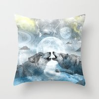 wolves Throw Pillows featuring Wolves by haroulita