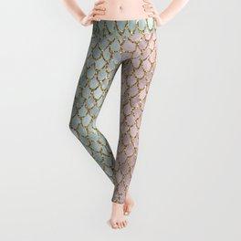 Pretty Mermaid Scales 19 Gold s Leggings
