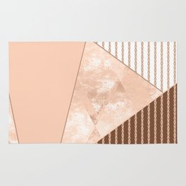Valencia 2. Abstract Beige, white, brown geometric pattern. Rug