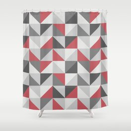 Red & gray modern geometric triangles pattern Shower Curtain