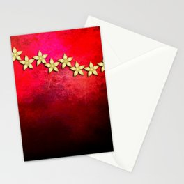 Spectacular gold flowers in red and black grunge texture Stationery Cards