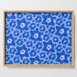 tie dye florals in ultramarine Serving Tray