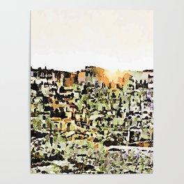 Sassi di Matera: view with sun Poster
