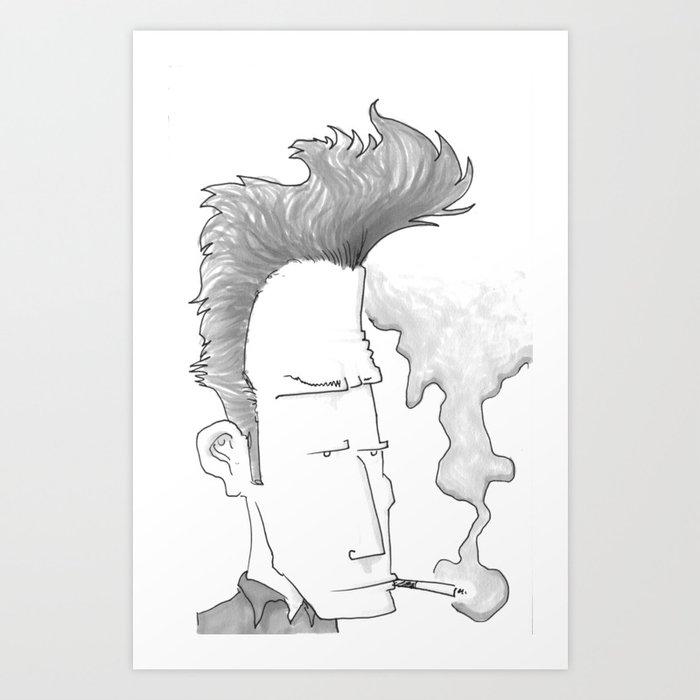 Big-haired Smoker #1 Art Print
