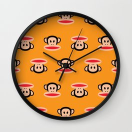 Julius Monkey Pattern by Paul Frank - Orange Wall Clock