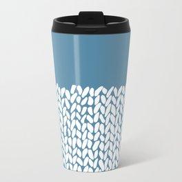 Half Knit Blue Metal Travel Mug