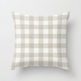 Farmhouse beige plaid buffalo check linen texture vintage farmhouse grain sack modern rustic Throw Pillow