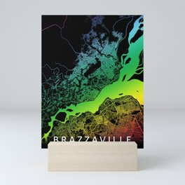Brazzaville, Republic of the Congo, City, Map, Rainbow, Map, Art, Print Mini Art Print