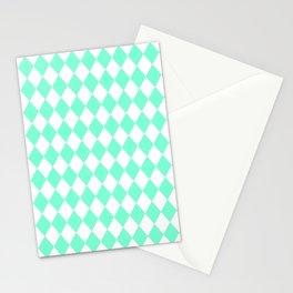 Diamonds (Aquamarine/White) Stationery Cards