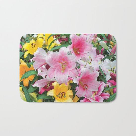 SPRING LILIES FLOWER GARDEN MEDLY Bath Mat