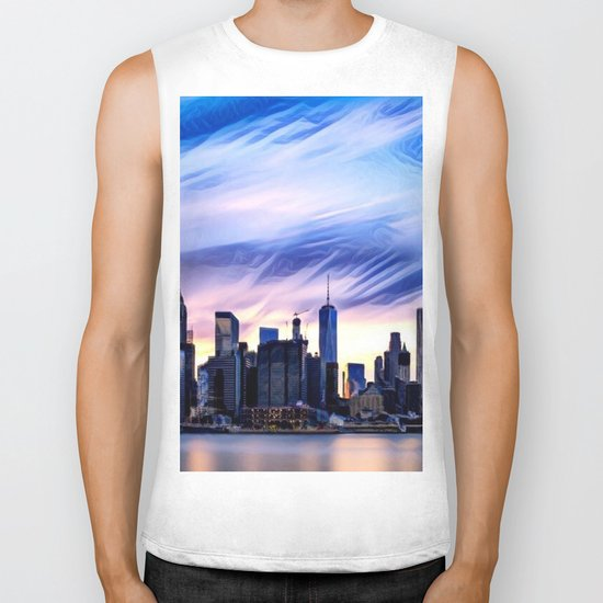 Romantic City Cityscape with Light Sunset and River Biker Tank