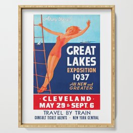 1937 Great Lakes Exposition Advertising Poster Serving Tray