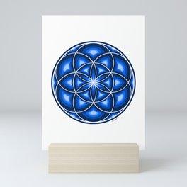 Blue Seed Of Life - Sacred Geomtry Mini Art Print