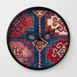 Royal Blue Red Kazak 19th Century Authentic Colorful El Paso Vibes Vintage Patterns Wall Clock