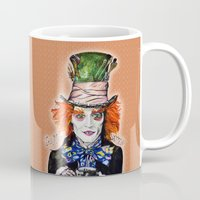 mad hatter Mugs featuring MAD HATTER BY DOCTUS by doctusdesign