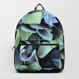 green and blue hydrangea Backpack