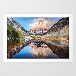 Colorado Maroon Bells Mountainous Landscape Reflection Art Print