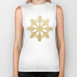 Gold Glitter Snowflake Biker Tank
