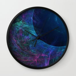 Abstract colorful shiny print graphic with planet space Wall Clock