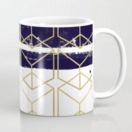 Blue & Gold Hexagon Coffee Mug