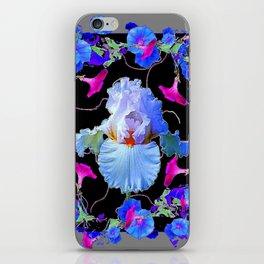 BLUE MORNING GLORIES & WHITE IRIS  SPRING  GARDEN ART iPhone Skin