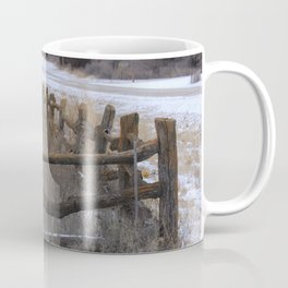 Kansas Wintery Wooden Fence Coffee Mug