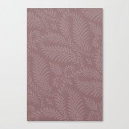 Pantone Red Pear Fancy Leaves Scroll Damask Pattern Canvas Print