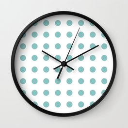 Chalky Blue Polka Dots Wall Clock