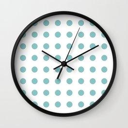 Chalky Blue Polka Dots Wall Clock