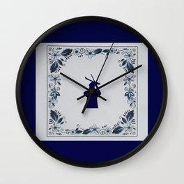 Delft blue tile windmill 'de Roos' in Delft Wall Clock