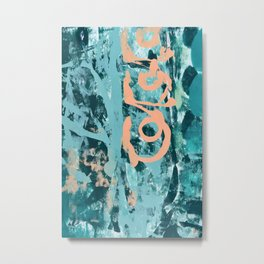 018.2: a bright contemporary abstract design in teal and peach by Alyssa Hamilton Art  Metal Print