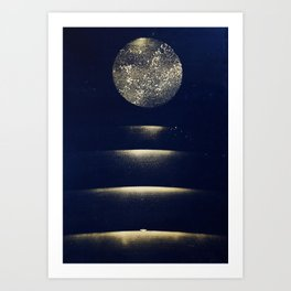 Staircase to the Moon (Gold) Art Print