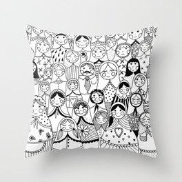 Matrioshka doodle Throw Pillow
