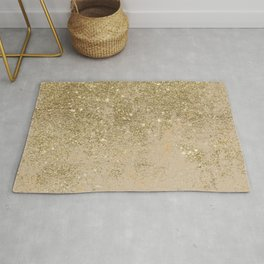 Girly trendy gold glitter ivory marble pattern Rug