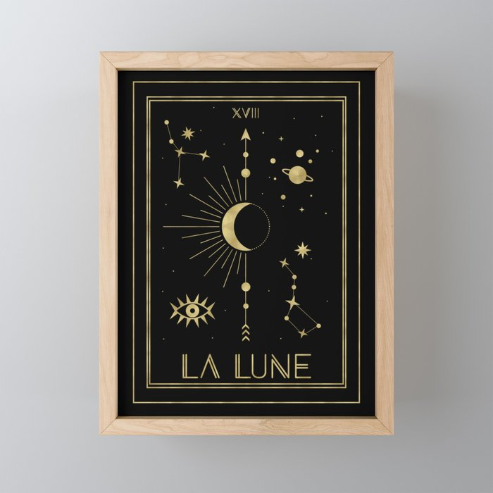 The Moon or La Lune Gold Edition Framed Mini Art Print