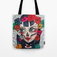 mexican Tote Bags featuring Mexican SK by LucreziaU's Illustration