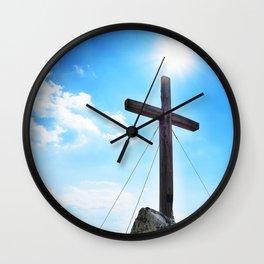 Wooden cross on peak Wall Clock