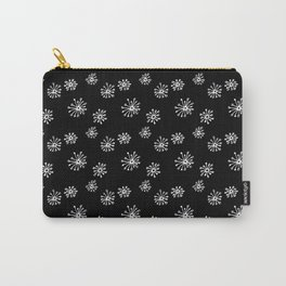 Doodle Bursts (White Line) - Black Carry-All Pouch