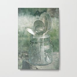 Silver Spoons in Vintage Blue Jar Metal Print